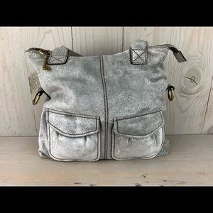 fossil modern cargo convertible tote silver